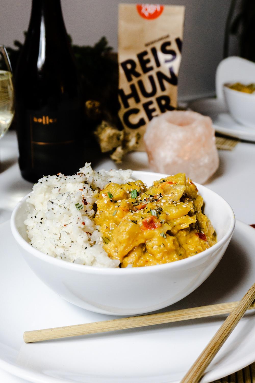 Veganes Kürbis-Linsen-Curry mit Reis