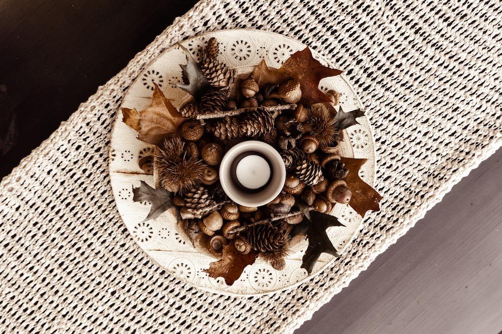 Tischdeko Kerzen-Platte