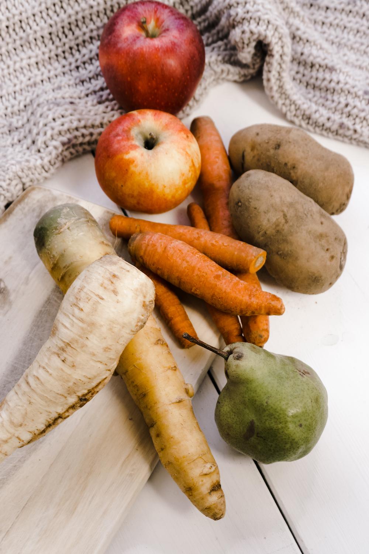Saisonales Gemüse und Obst Dezember