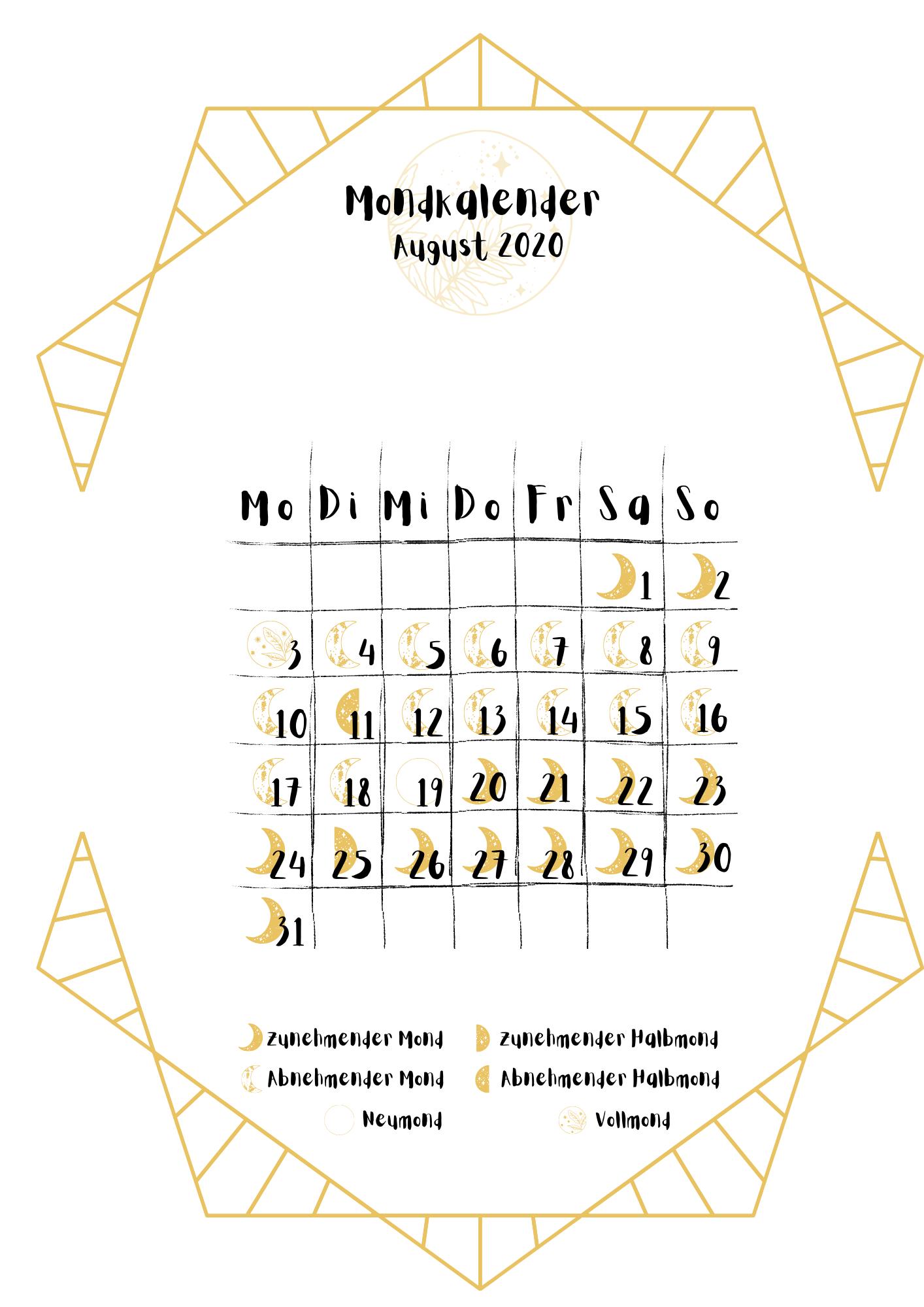 Mondphasen Kalender August 2020