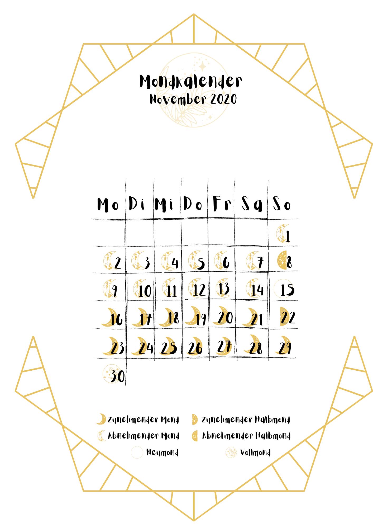 Mondakalender November 2020