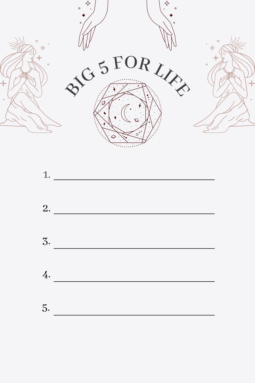 Big 5 for Life Liste